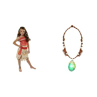 Disney Moana Girls Adventure Outfit with Disney Moana's Magical Seashell Necklace Bundle: Toys & Games