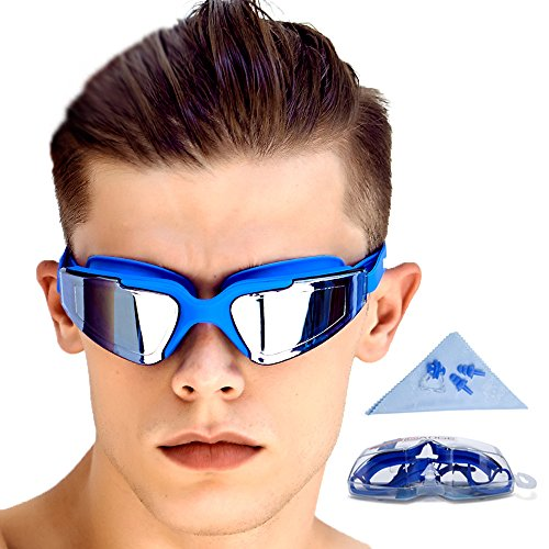 Fastskin Racing Swimwear (GAOGE Swimming Goggles No Leaking Anti Fog UV Protection Clear Triathlon Swim Goggles with Free Nose Clip, Ear Plugs Protection Case for Adult Men Women Youth Kids Child,)