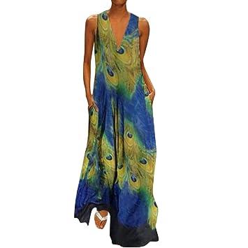 SMILEQ Vestido Largo de Mujer Falda con Estampado de Plumas con ...