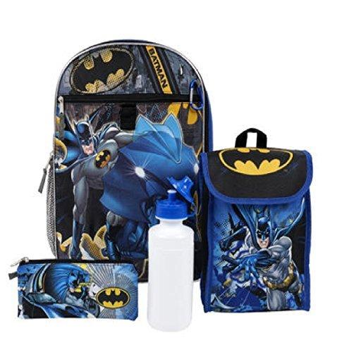 5pc 16 inch Batman 16in Backpack Set (Personalized Lego Water Bottle)