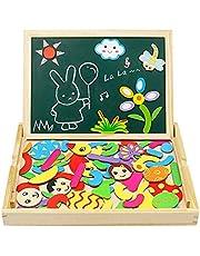 Puzzles Magneticos Tablero de Madera del Dibujo y de Pintura Doble Cara Magnético Rompecabezas para Niños 3+ Años (76 PCS)
