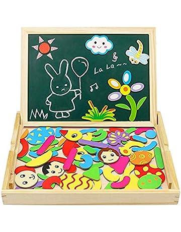 Puzzles Magneticos Tablero de Madera del Dibujo y de Pintura Doble Cara Magnético Rompecabezas para Niños