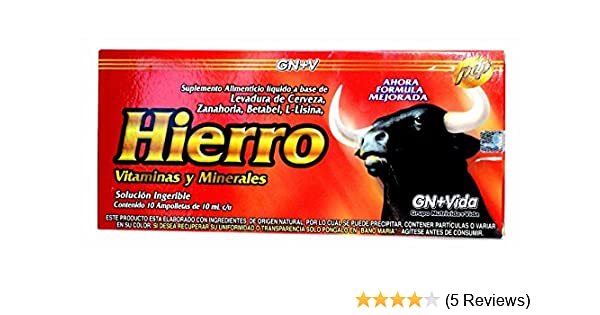 Amazon.com: Iron Reinforzed with Vitamins for Anemia Eliminates Fatigue Increasing Energy Anemiasyn Hierro Vitaminado Ampolletas: Health & Personal Care