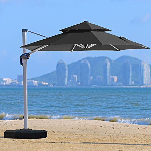 Double Top Deluxe Patio Umbrella Offset Hanging Umbrella Outdoor Market Umbrella Garden Umbrella, Black ()