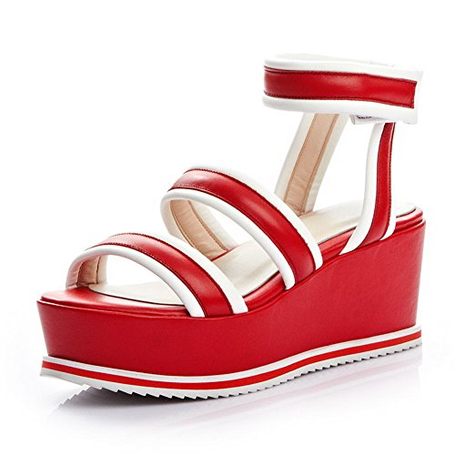 and Round Wedge Sandals Velcro Cow AllhqFashion Leather Womens with Red Open Toe Ring vPww4q5