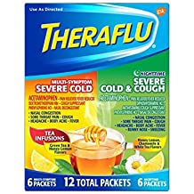 Theraflu MultiSymptom Severe Cold and Nighttime Severe Cold & Cough Hot Liquid Powder for Cough & Cold Relief, 12 count (2 Pack) SDXF