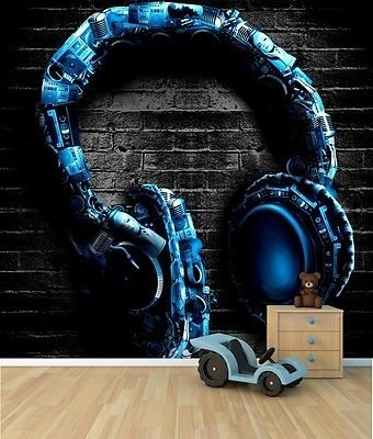 Vgo Ltd Cool Headphones Wallpaper Mural Teenagers Bedroom Feature