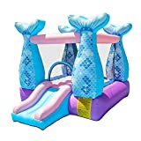 Doctor Dolphin Bounce House Inflatable Mermaid Bouncy Castle House with Air Blower for Kids Party
