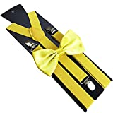 Solid Color Kids Adult Clip-on Elastic Y-Shape Adjustable Suspenders Bowtie Set - Bright Yellow collectsound