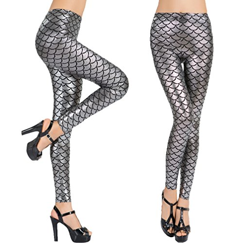 Sexy Printed Leggings for Women High Waisted Digital Shiny Metallic Mermaid Fish Scale Leggings Stretchy Tight Slim Fit Pants, Silver 3XL