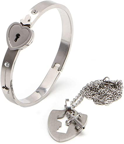 Couple Titanium Steel Lock Bangle Bracelet /& Key Pendant Necklace Love Set UK
