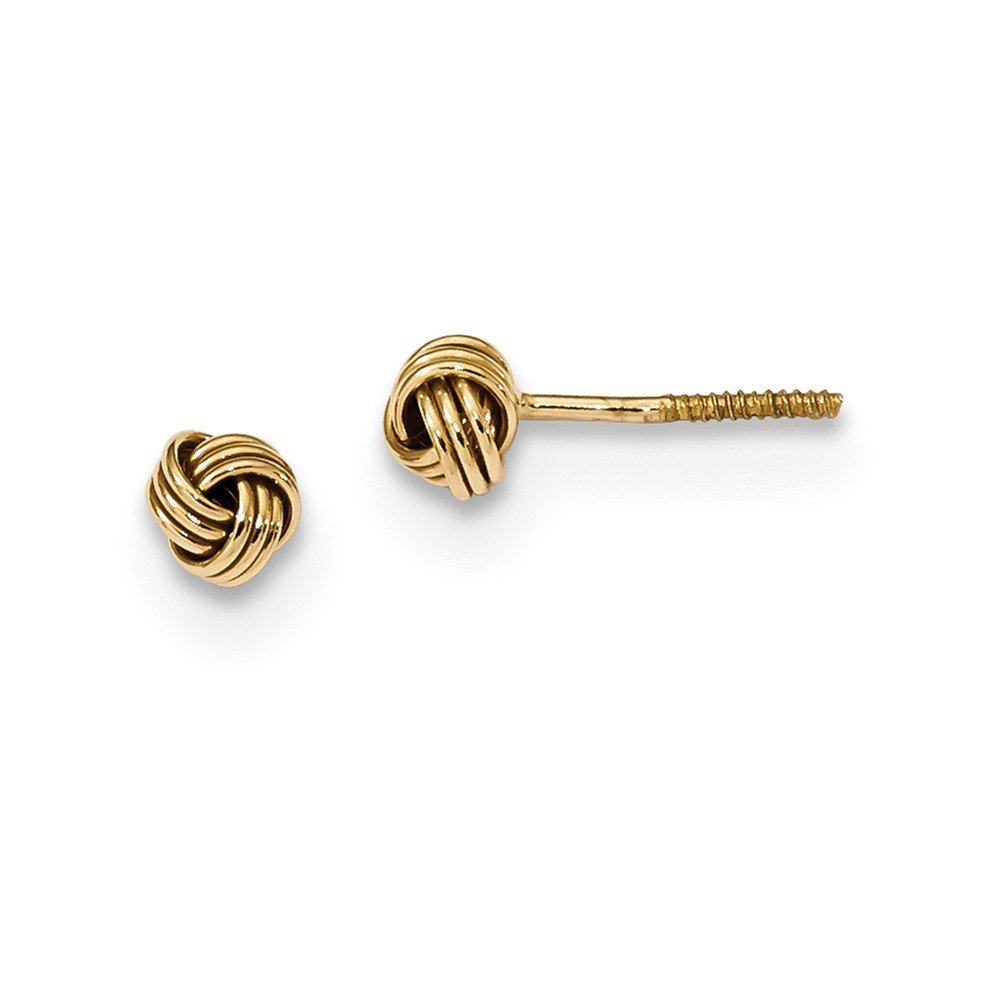 Solid 14k Yellow Gold Polished Love Knot Post Earrings (4.2mm x 4.2mm)