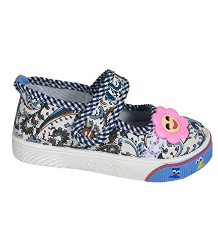 Mädchen Floral Print Leinwand Pumpen Sneakers Gr. UK 8,5bis 11Größe EU 26bis 30blau
