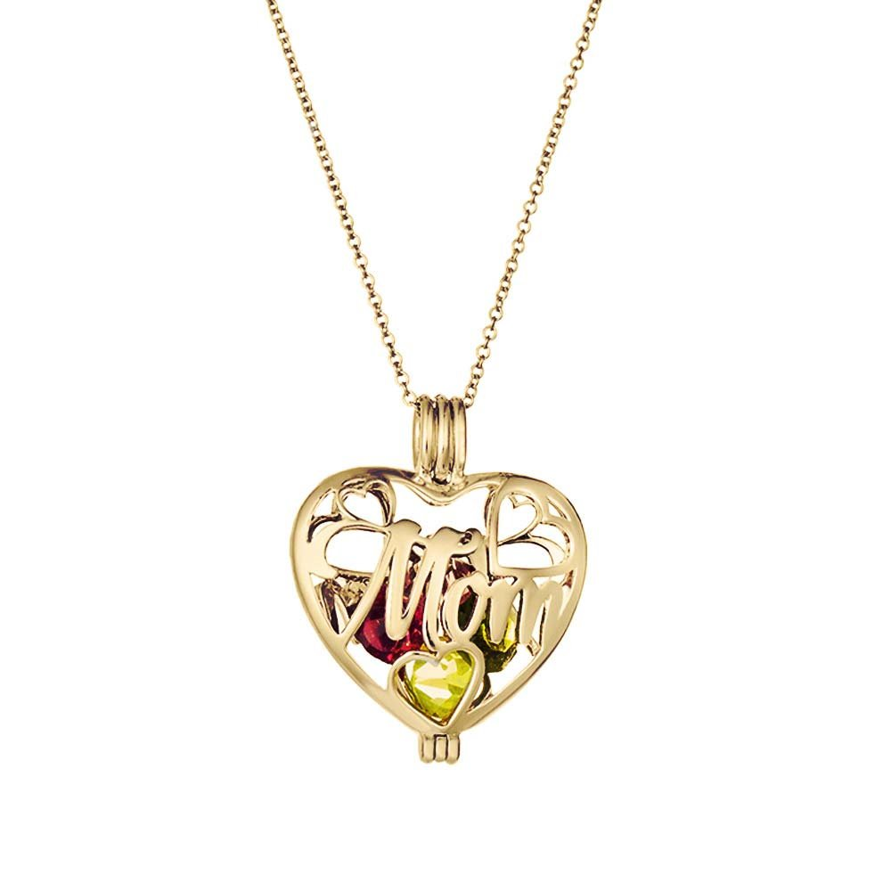 Gold Plated Personalized 6mm Round Simulated Birthstone Mom Heart Locket (16'' chain)