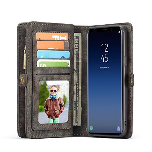 Samsung Galaxy S9 Plus Wallet, ICE FROG Detachable Magnetic Handmade Cowhide PU Leather Credit Card Slots Purse Pouch Flip Shell Removable Back Phone Case Cover - Black by ICE FROG (Image #6)