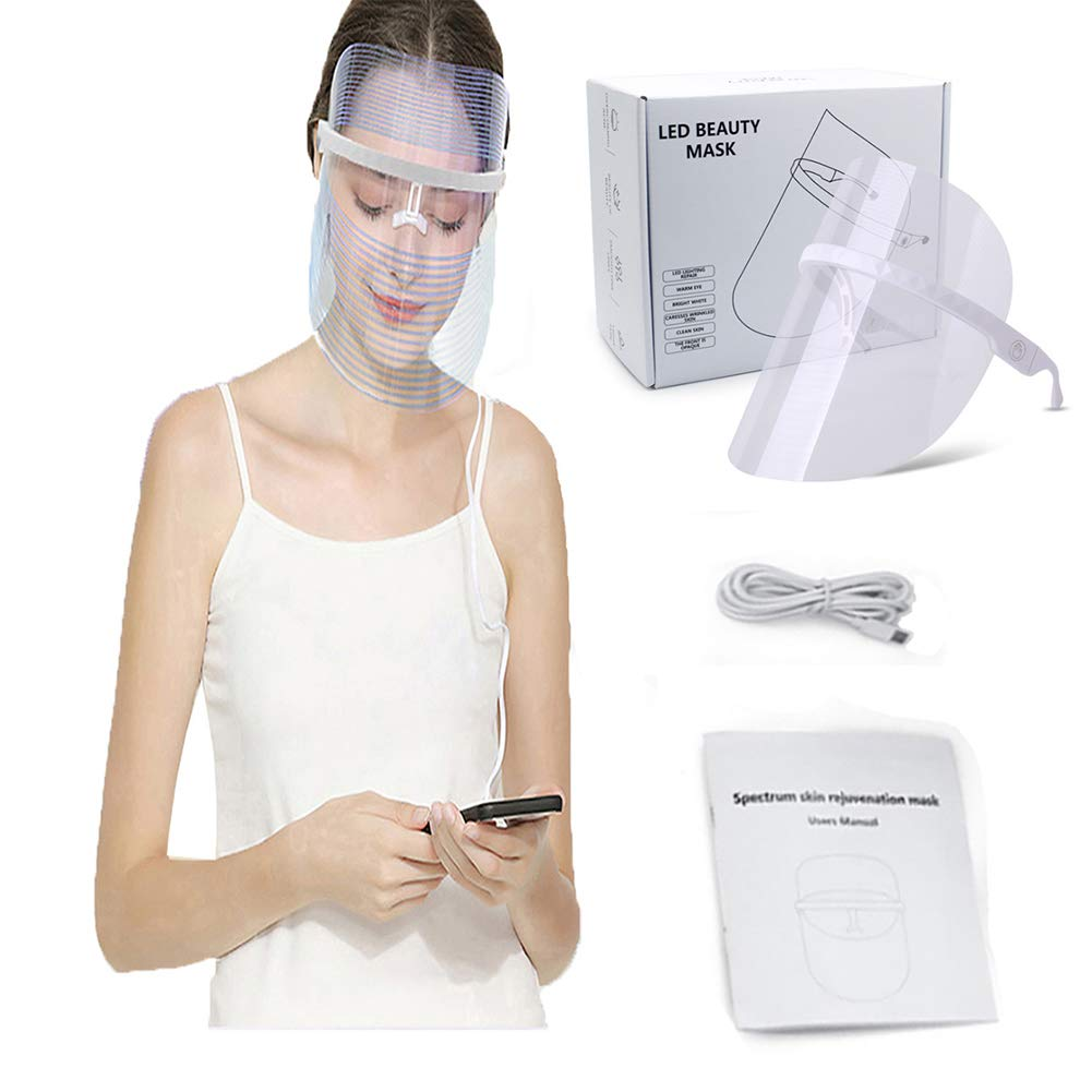 LED Face Mask - Blue & Red & Yellow Light Mask - Red Light Devices Led Facial Mask - Skin Care LED Light Therapy Facial Photon - Wireless Led Light Mask for Face