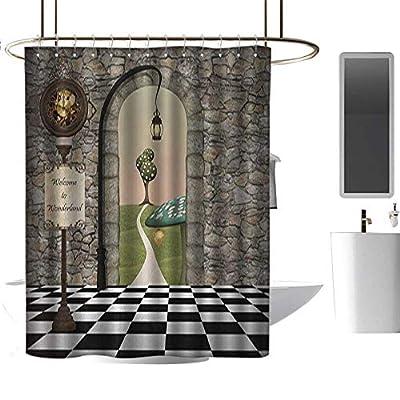 HjkDecor Shower Curtains Nautical Alice in Wonderland,Welcome Wonderland Black and White Floor Landscape Mushroom Lantern,Multicolor,Shower Curtain for Shower stall