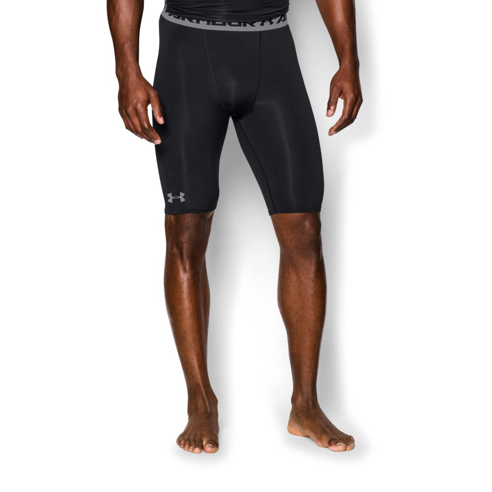 Under Armour Men's HeatGear Armour Compression Shorts - Long, Black (001)/Steel, Small