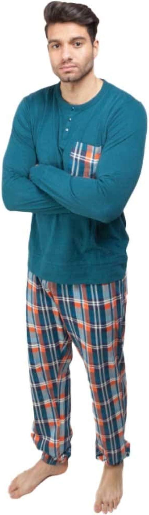GISELA Pijama de Hombre en algodón 2/1559 - Azul, XL: Amazon ...