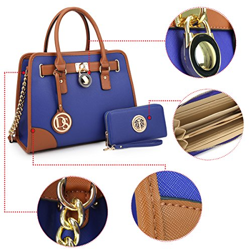 Set Purse 2 Bag Designer Satchel Blue Shoulder Pieces Handle Padlock Handbag Medium Top IwftUqn5O