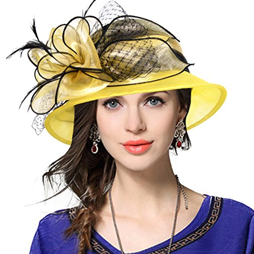 VECRY Lady Derby Dress Church Cloche Hat Bow Bucket Wedding Bowler Hats (Two-Tone-Yellow, -