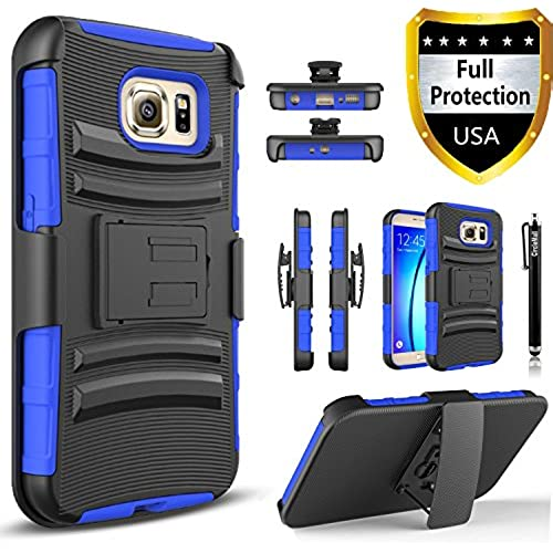 Galaxy S8 Plus Case, Dual Layers [Combo Holster] Case And Built-In Kickstand Bundled with Hybird Shockproof And Circlemalls Stylus Pen[Blue] Sales
