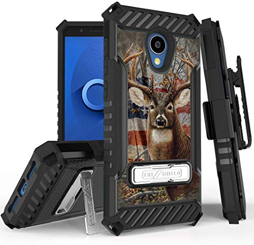 Tri-Shield [Hunter Series] Rugged Case Metal Kickstand Cover + Belt Clip Holster [USA Deer Flag Design] for Alcatel TCL LX, A502DCP, A502DL (Straight Talk/Simple Mobile/Walmart Family)