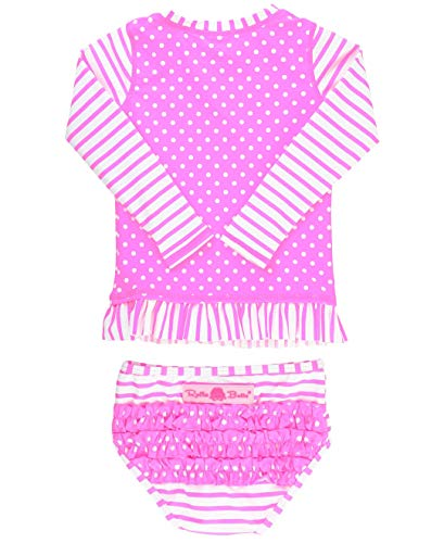 - RuffleButts Little Girls Swimsuit Rash Guard 2-Piece Long Sleeve Set - Neon Pink Stripe Polka Dot UPF 50+ - 4T