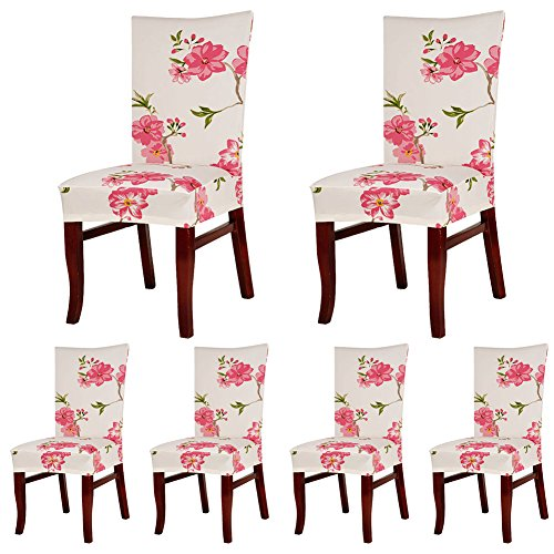 ColorBird Spandex Fabric Chair Slipcovers Removable Universal Stretch Elastic Chair Protector Covers for Dining Room, Hotel, Banquet, Ceremony (Set of 6, Cherry Blossom)