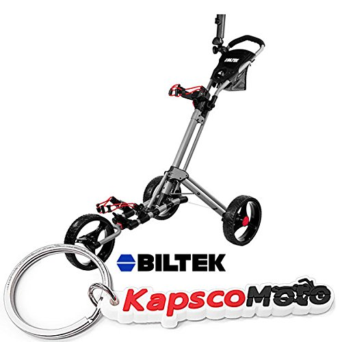 Biltek Premium 3-Wheel Golf Push Cart Trolley Silver Umbrella Scorecard Holder + KapscoMoto Keychain