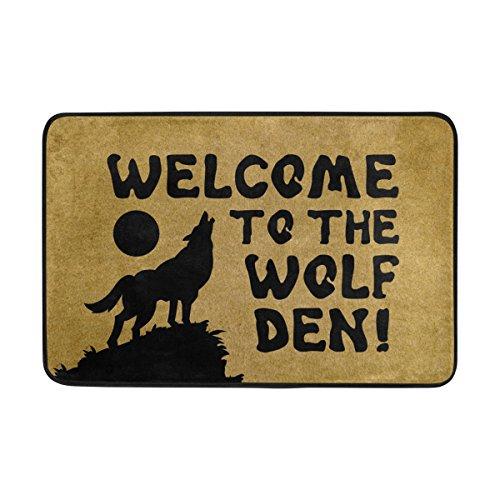 Mat Door Wolf - Naanle Entrance Doormat Welcome to The Wolf Den Indoor Door Mat Non-Slip Doormat 23.6 by 15.7 Inch Interlayer Polyester Machine Washable Polyester Fabric