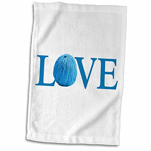 3dRose InspirationzStore Love series - Love Knitting - blue text with ball of yarn wool - knit knitter fan - 15x22 Hand Towel (Powder Blue Knitting Yarn)