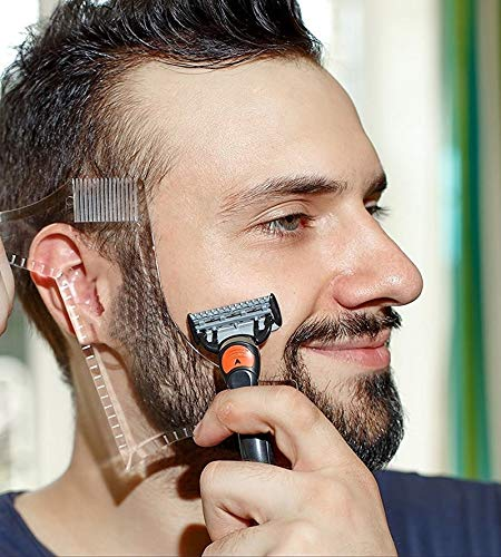 Sweetheart -LMM Beard Shaping Tool Template, Beard Shaper Tool Plus Comb for Line Up & Edging Beard Stencil Guide Random Colour