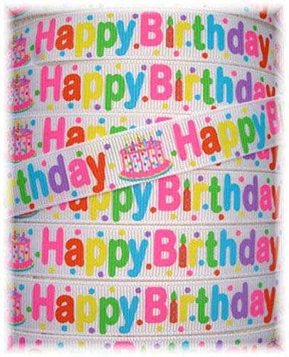Ribbon Art Craft Perfect Solution for Any Project Decoration 1 Yard 5/8 Happy Birthday Party Cake Candles Grosgrain Ribbon