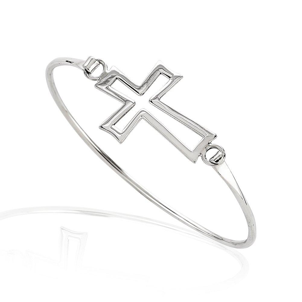 925 Sterling Silver Thin Line Open Cross Wrap Bangle Bracelet