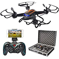 Big Bundle of F181W FPV Drone with Portable Carrying Case 4 Batteries 4-in-1 Charger Li-Po Safe Bag, RC Quadcopter with Camera Live Video Altitude Hold Headless Mode for Kids and Beginner