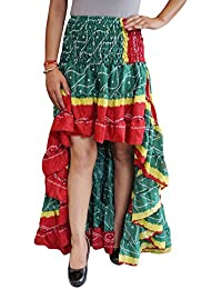 Womens Ruffle Skirt Vintage Wanderlust Printed Recycled Sari Full Flare Tiered Flirty High Low Skirts S/M