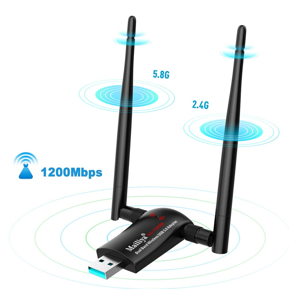 Mailiya 1200Mbps USB WiFi Adapter, Long Range Wireless Network WiFi Dongle with 2 X 5dBi WiFi Antennas, Dual Band 2.4G/5G for PC/Desktop/Laptop/Mac Windows 10/8/8.1/7/Vista/XP/2000, Mac 10.4-10.13