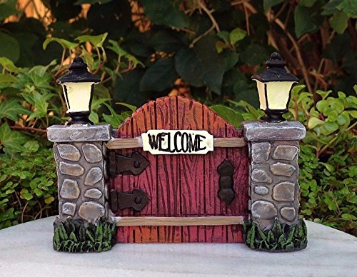 Miniature Dollhouse FAIRY GARDEN ~ GLOW in the DARK Gate & Cobblestone Lamppost