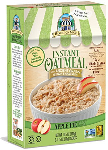 Bakery On Main Gluten-Free, Non-GMO Ancient Grains Instant Oatmeal, Apple Pie, 10.5 Ounce/6 Count Box (Pack of 3)