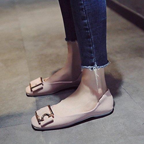 Giy Mujeres Ballet Mocasines Planos Moccasin Square Toe Slip-on Hebilla Vestido De Baile Casual Oxford Loafer Zapatos Pink