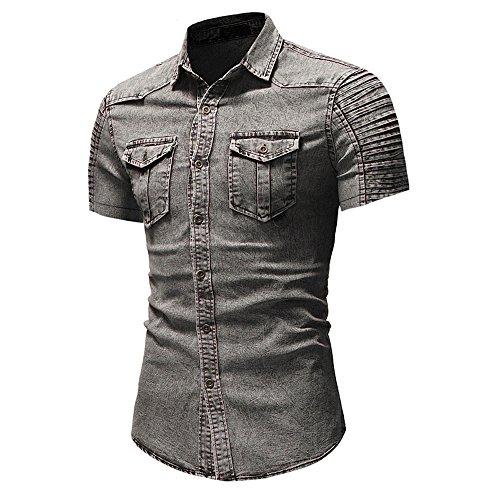 Benficial Men's Casual Slim Fit Button Shirt with Pocket Short Sleeve Tops Blouse Polo Fashion Denim T-Shirts