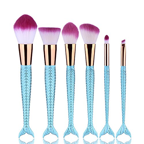 Yocitoy 6PCS Mermaid Makeup Brushes Foundation Blending Blus