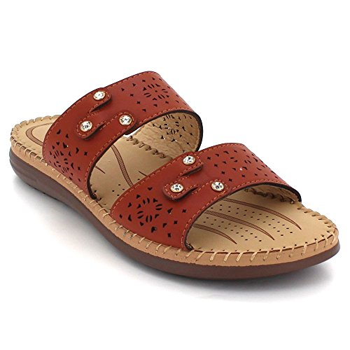 on Womens Slip Shoes Sandal Size Ladies Open Camel Casual Lightweight Everyday Comfort LONDON Super Flats AARZ Wear Toe 8Z5wqz5xf