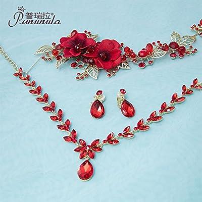XPY&DGX Accessoires De Cheveux De Mariée En Épingle À Cheveux De Mariage,Bridal tiare couronne de trois pièces ensemble accessoires de cheveux de mariage rouge accessoires de mariage