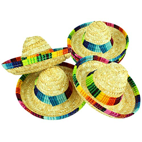 JINSEY 6 Pack Woven Straw Mini Sombrero Hats, Mini Mexican Hats Taco Hats, Tabletop Centerpieces Party Supplies, Fiesta Party Birthday Party Decoration, Donkey Pinata Hat -