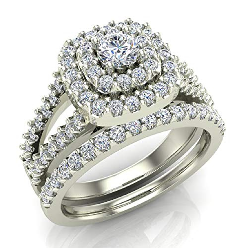 18k 18k Wg Ring - Cushion Shape Double Halo Split Shank Wedding Ring Set 1.10 Carat Total 18K White Gold (Ring Size 7.5)