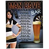 """Desperate Enterprises Man Cave \""""Rules\"""" Tin Sign, 12 by 16-Inch"""