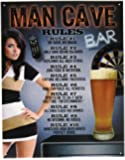 "Desperate Enterprises Man Cave ""Rules"" Tin Sign, 12 by 16-Inch"