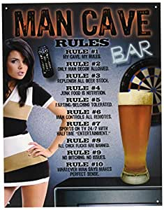 """Desperate Enterprises Man Cave """"Rules"""" Tin Sign, 12 by 16-Inch"""